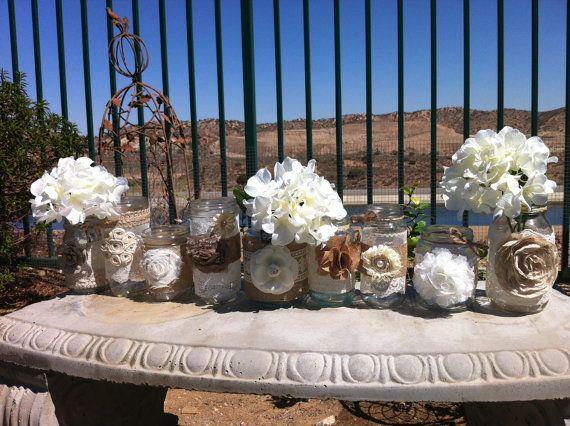 burlap lace mason jars set of 24 bulk mason jar centerpieces head