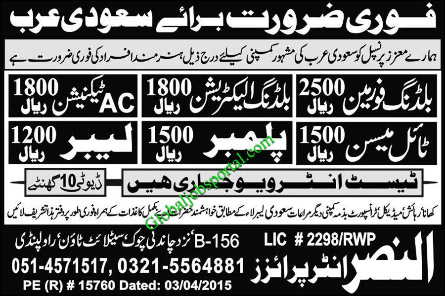 AC Technician, Labour, Plumber Jobs Required in Saudi