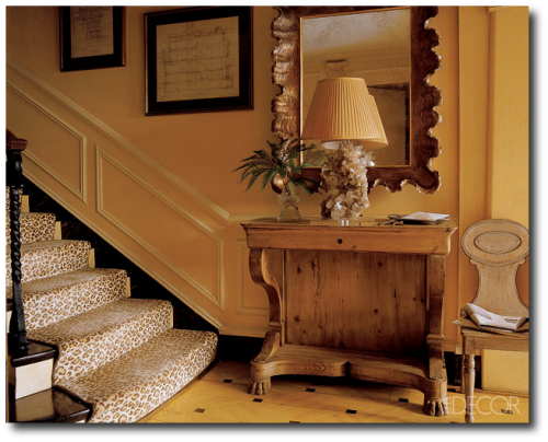 Entrance of a Manhattan apartment decorated by Miles Redd, a leopard-print stair runner adds a subtle graphic touch- Elle Decor Magazine