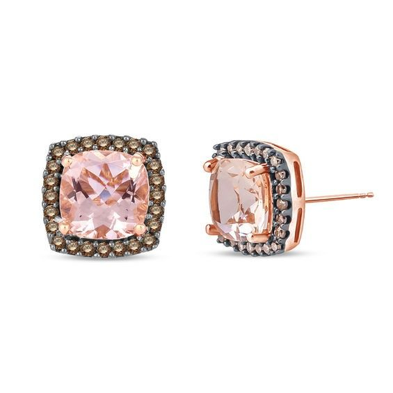 6 0mm Cushion Cut Morganite And 1 4 Ct T W Champagne Diamond Stud