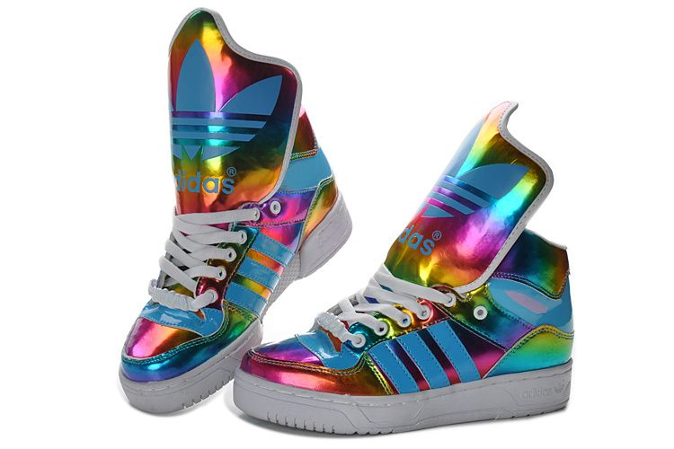 low priced f656b ebb61 Colorful Adidas High Tops Big Tongue Shoes. shoes  sneakers Jeremy Scott ...