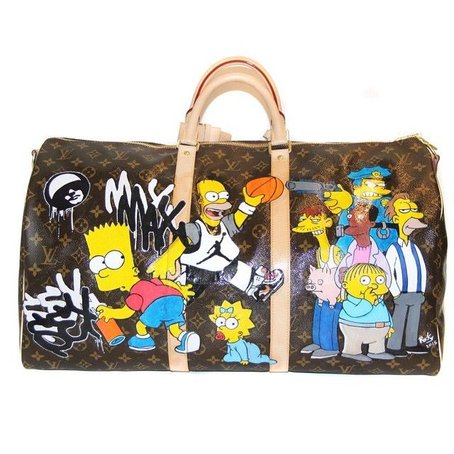 6a7353c0eeea Louis Vuitton Keepall bag custom painted with The Simpsons characters.