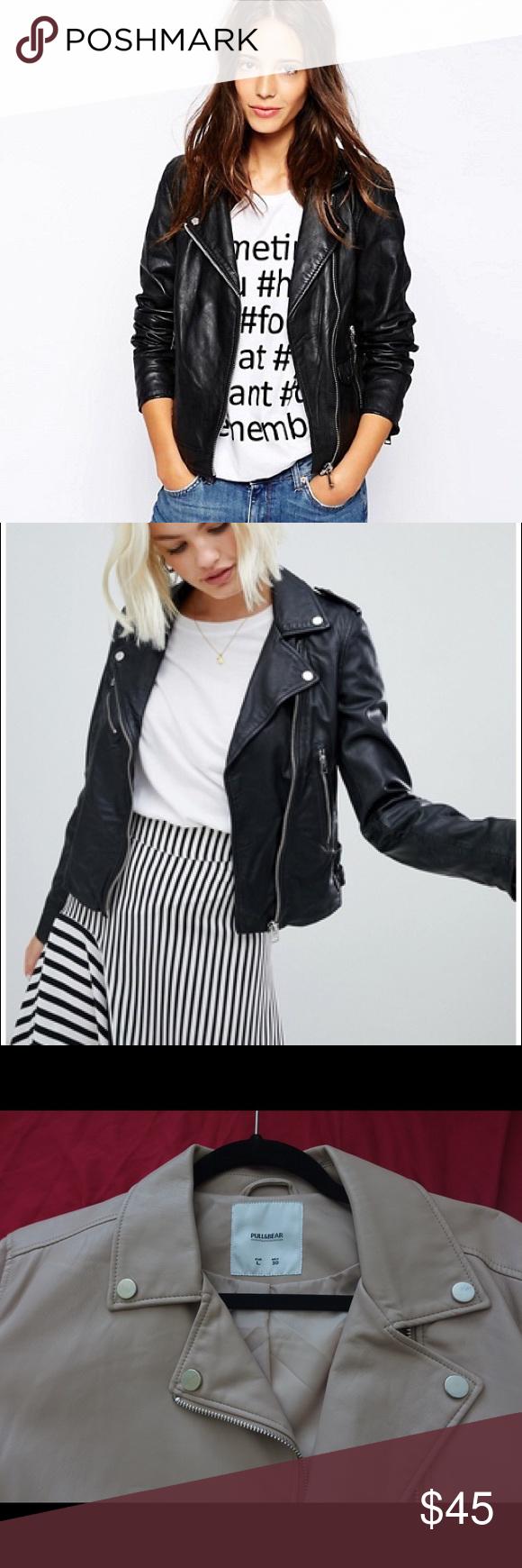 Faux leather biker jacket in creampink, NWOT Faux