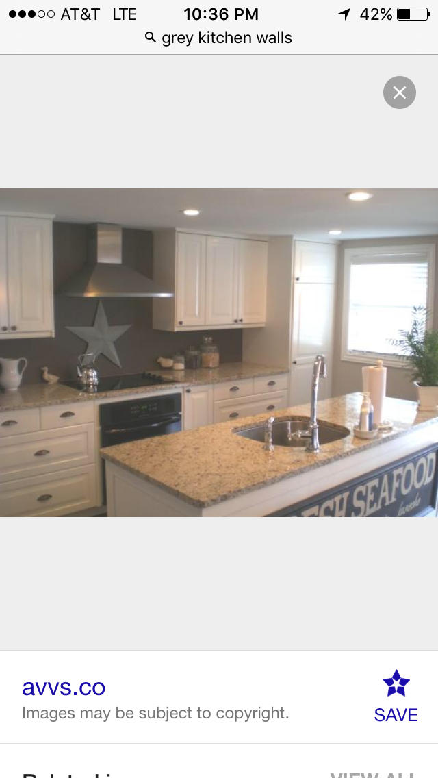 Tan Granite With White Cabinets And Grey Walls Clean But Inviting