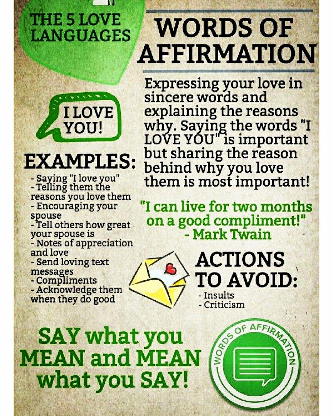 Love Language Words Of Affirmation 5 Love Languages Love Languages Words Of Affirmation
