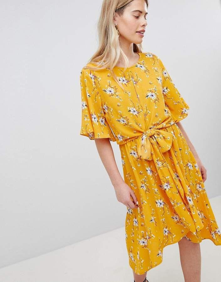4c0c2dee7e New Look Printed Flutter Sleeve Tie Front Wrap Midi Summer Dress ...