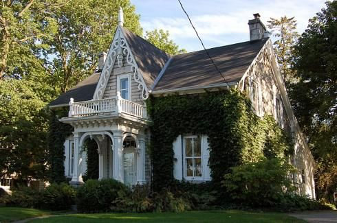 Vine Covered Carpenter Gothic Cottage Gothic House Architecture Cottage