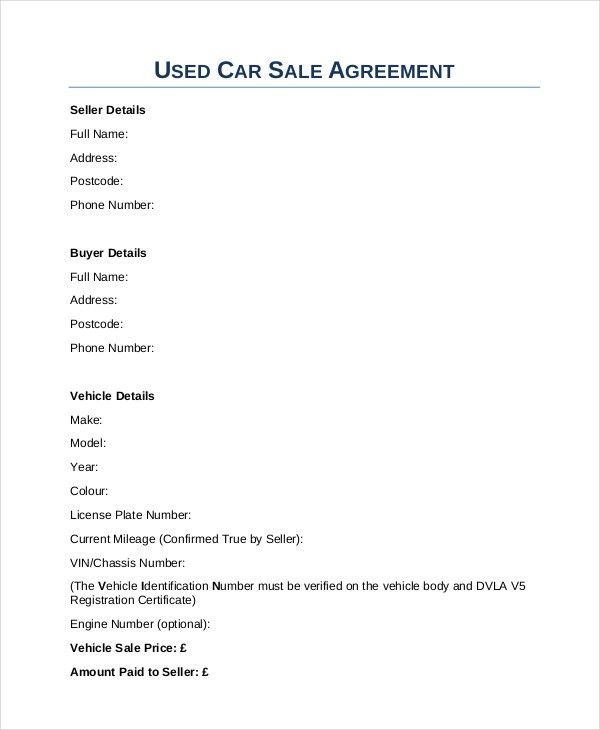vehicle sale letter sample
