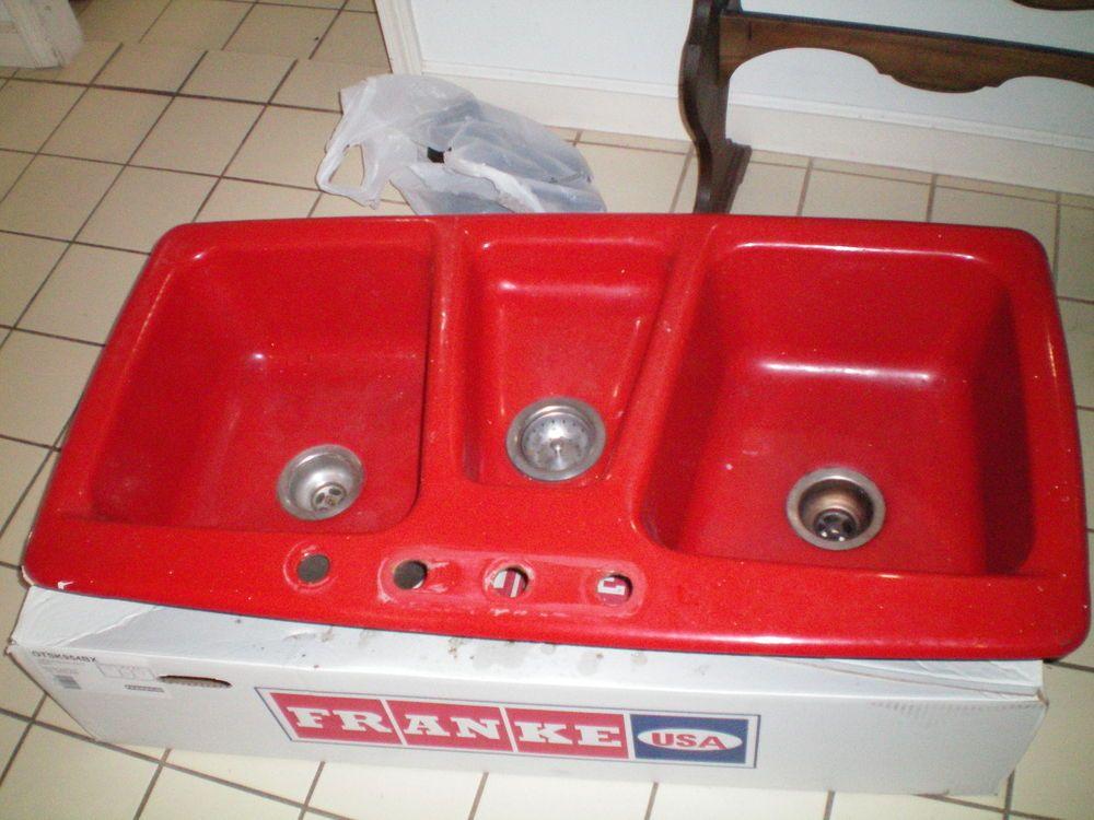 Cast Iron Porcelain Triple Bay Red Kitchen Sink 43 2 Round Bath Sinks Home Garden Improvement Plumbing Fixtures Ebay