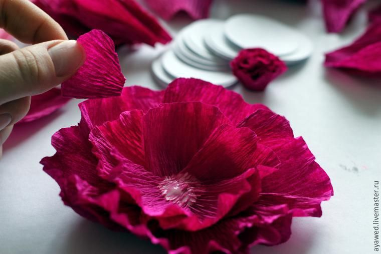 Создаем цветы из гофробумаги для декора подарочной ...  Красивые Поделки из Бумаги И Как Их Делать