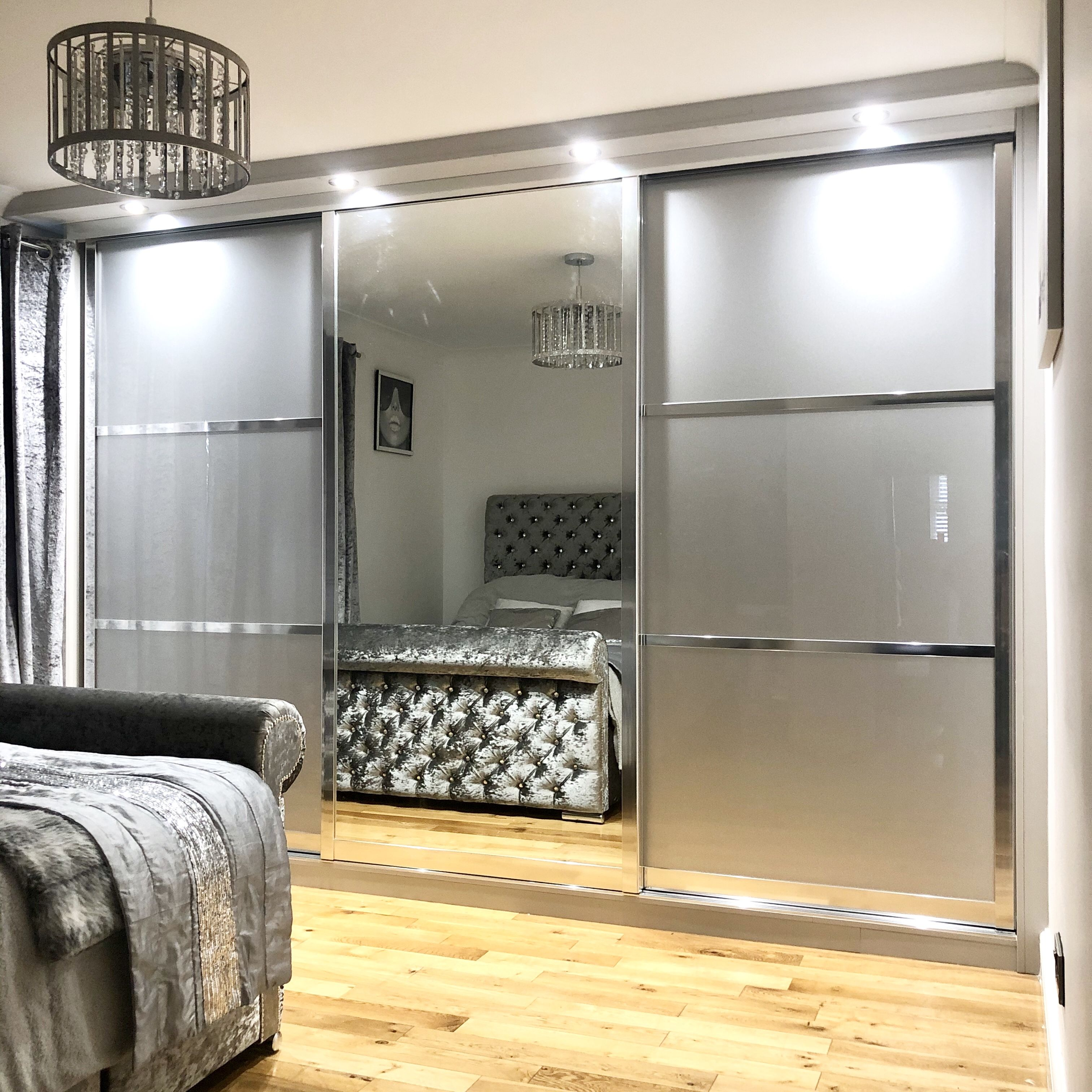 Sparkle Silver & Mirror sliding fitted wardrobes by James Kilner in Sheffield. Come and visit our new Showroom in #Ponsford on London road #sheffield #fittedwardrobes #bedroom #bedroomdecor #style  #slidingdoor #homedecor #jameskilner