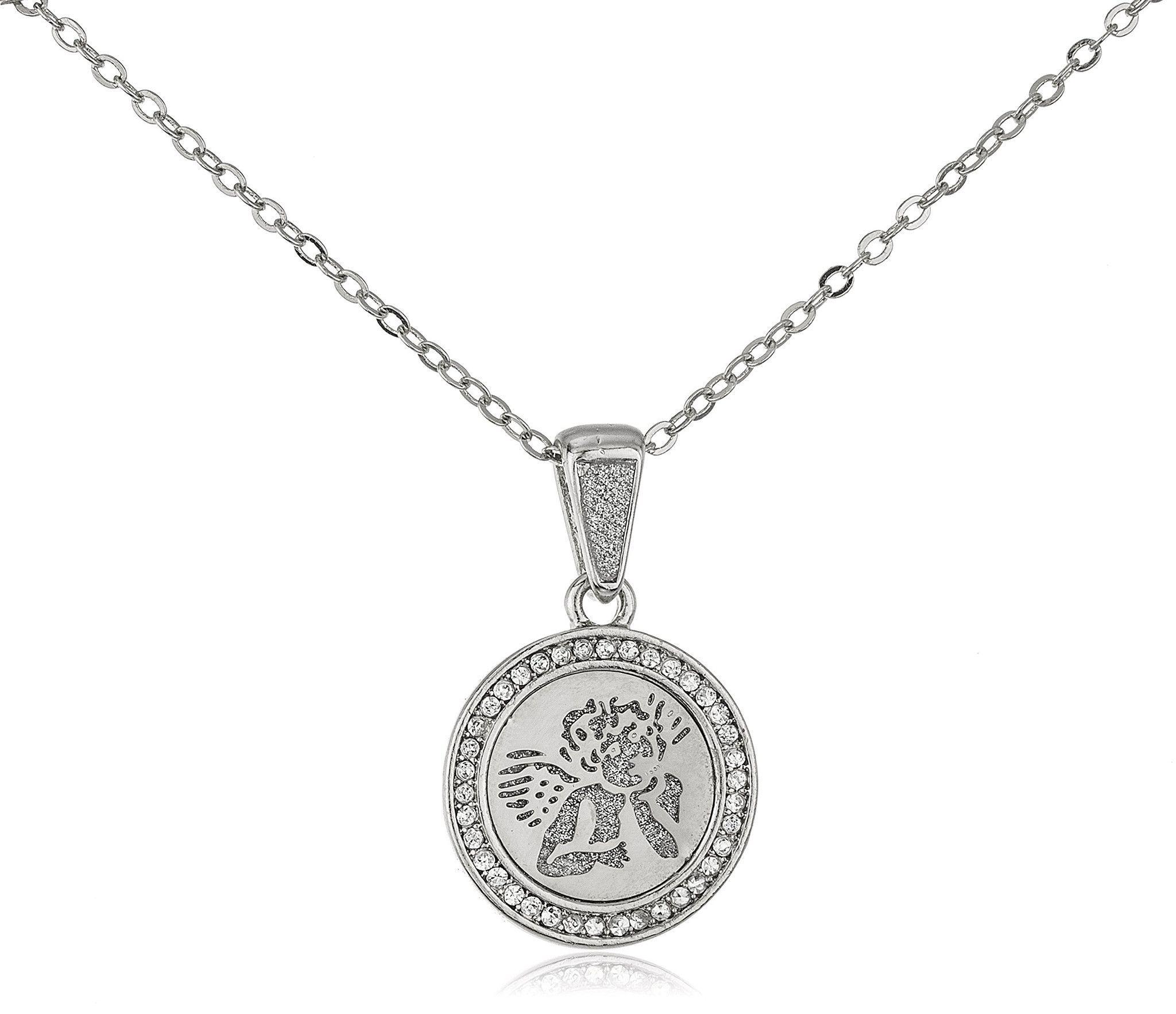 Stainless Steel Cherub Angel Sandblast Pendant on 19 Inch Link Necklace (Silvertone)