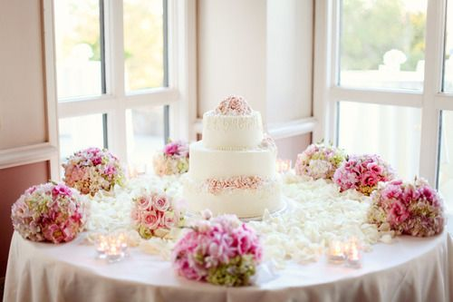 Cake table .. use the bridesmaid's bouquets for extra decoration