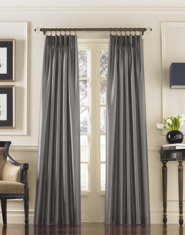 Amazon 33 Curtainworks Curtainworks Marquee Pinch Pleat Curtain Panel Pewter Faux Silk 30 Inch Traditional Curtains Pinch Pleat Curtains Pleated Curtains
