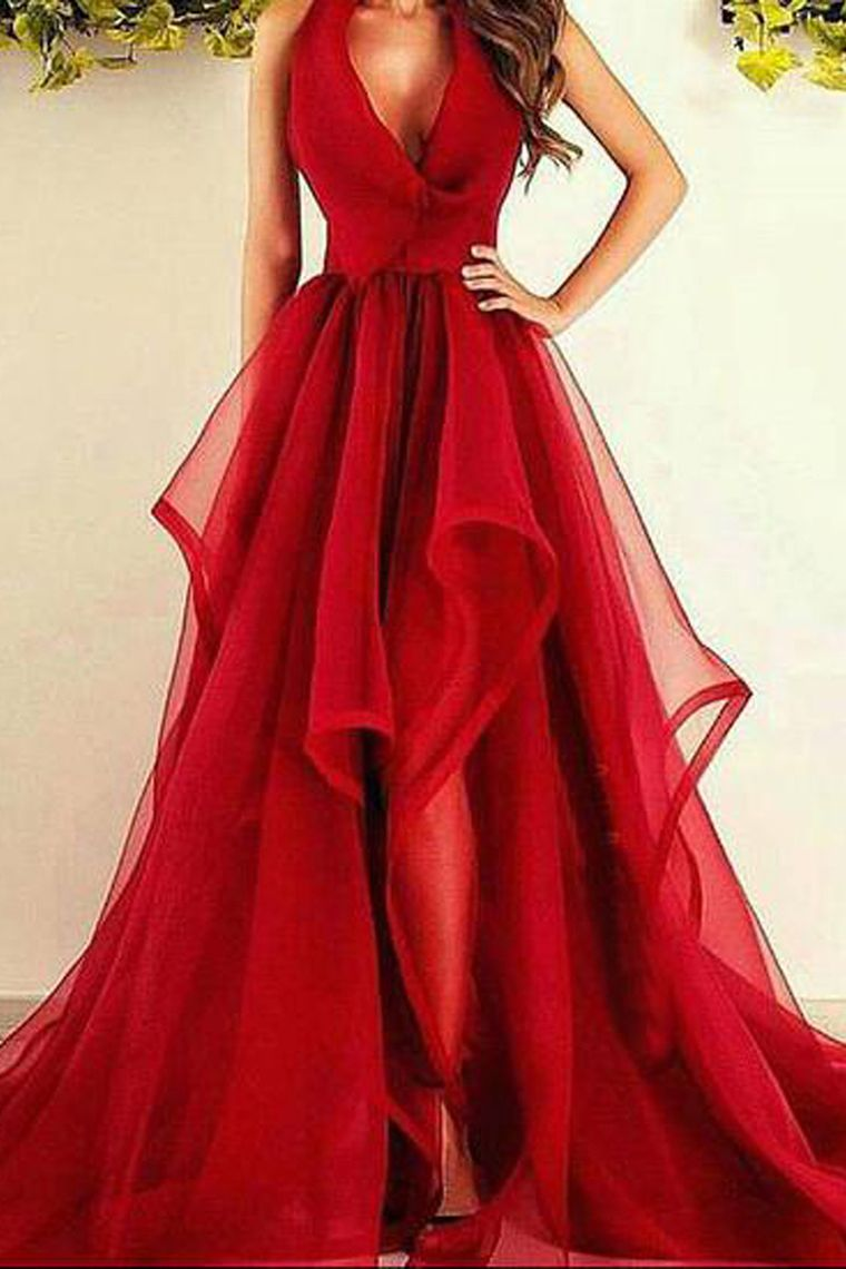 Sexy Burgundy Long Prom Dresses Asymmetrical Ruffles Evening Dress