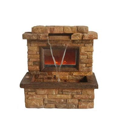 Northlight Resin and Fiberglass Faux Stone Fireplace Fountain