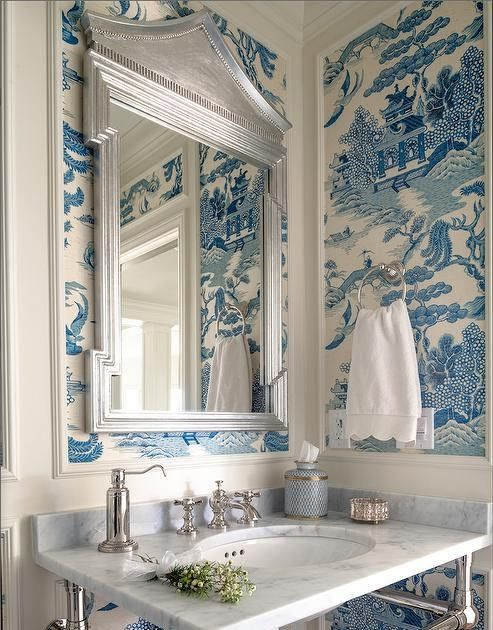 Blue And White With Images Blue White Decor Powder Room Design