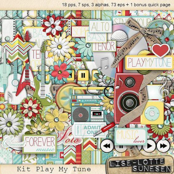 Digital Kit Play My Tune A Digital by DigitalScrapWorld on Etsy, $6.00