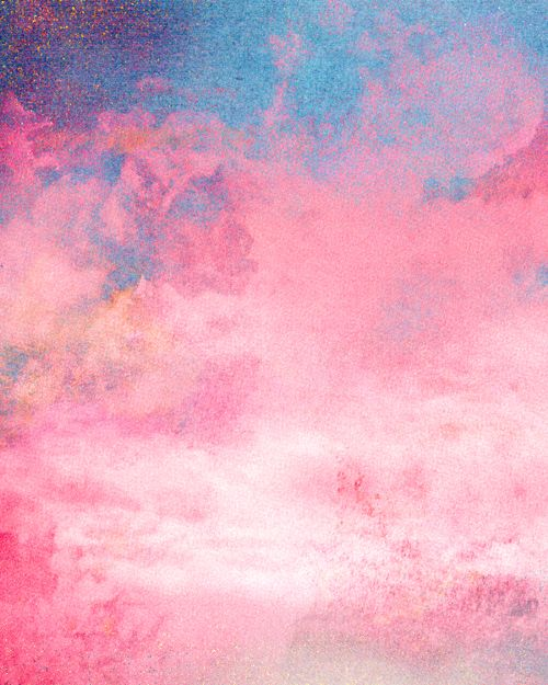 Pink And Blue Clouds Pink Art Art Abstract
