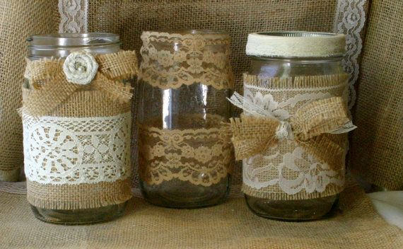 VINTAGE LACE on BURLAP wedding JARs  Bride and by Bannerbanquet, $35.00