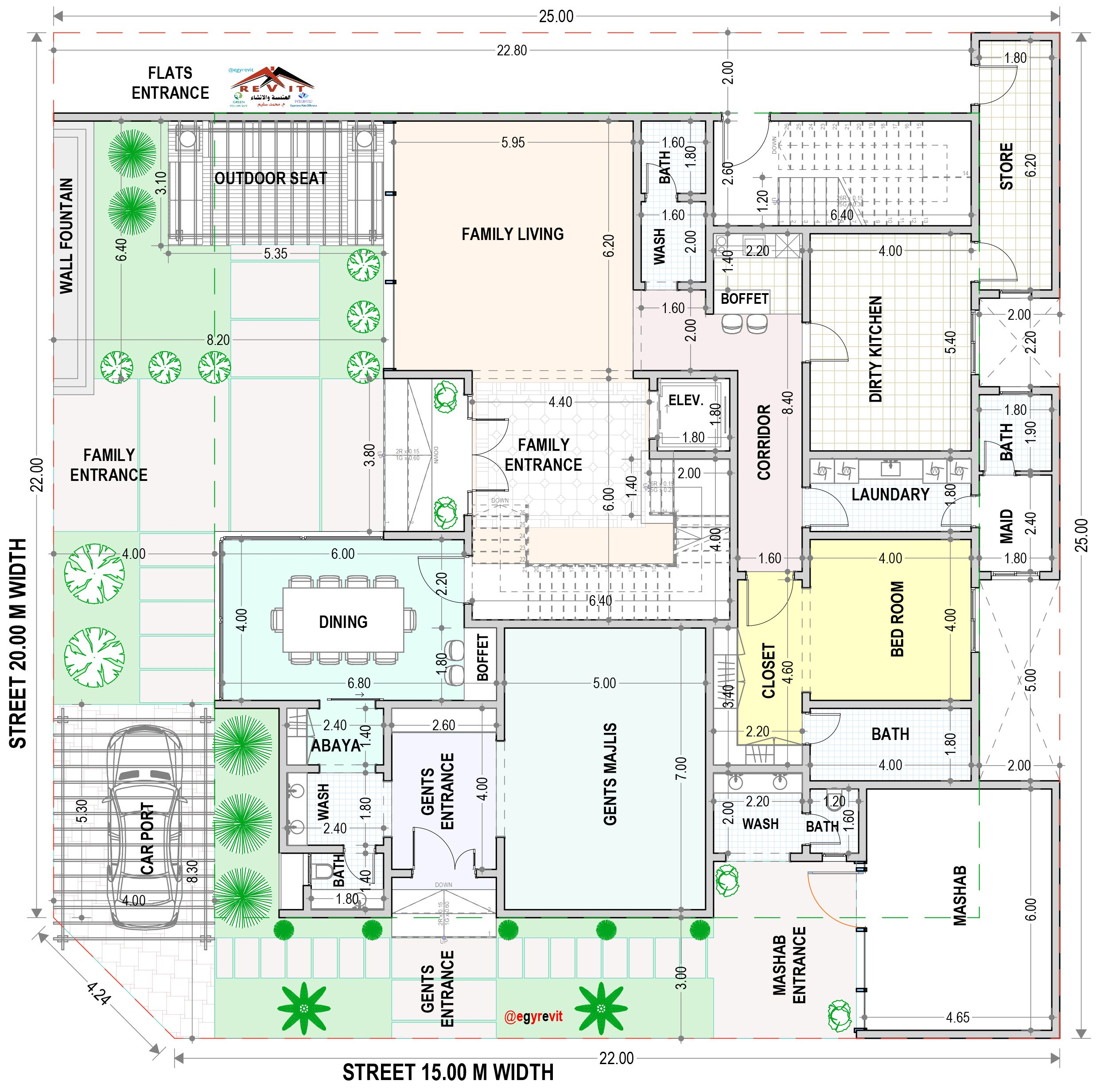 مخطط فيلا في الأمام و شقق خلفية Family House Plans Beautiful House Plans New House Plans
