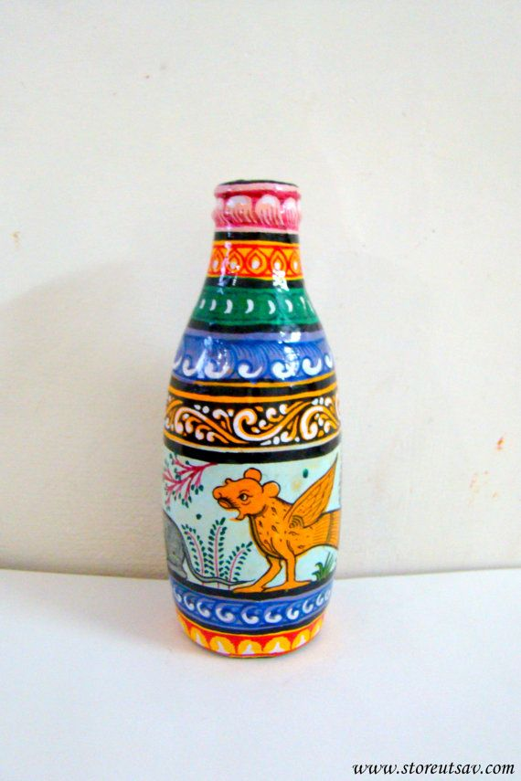 Painted Bottle Glass Art Pattachitra Home Decor Home Accent Indian