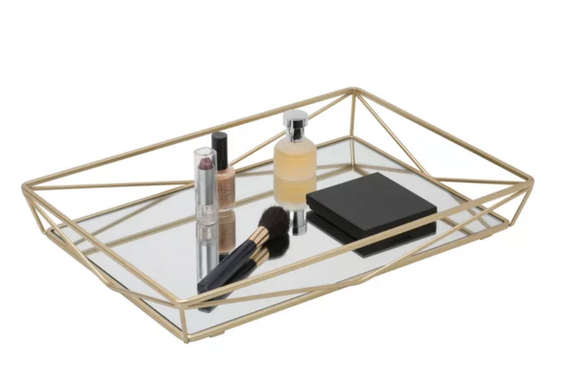 Large Geometric Mirrored Vanity Tray Gold Home Details Vanity Tray Vanity Mirror Elegant Bathroom