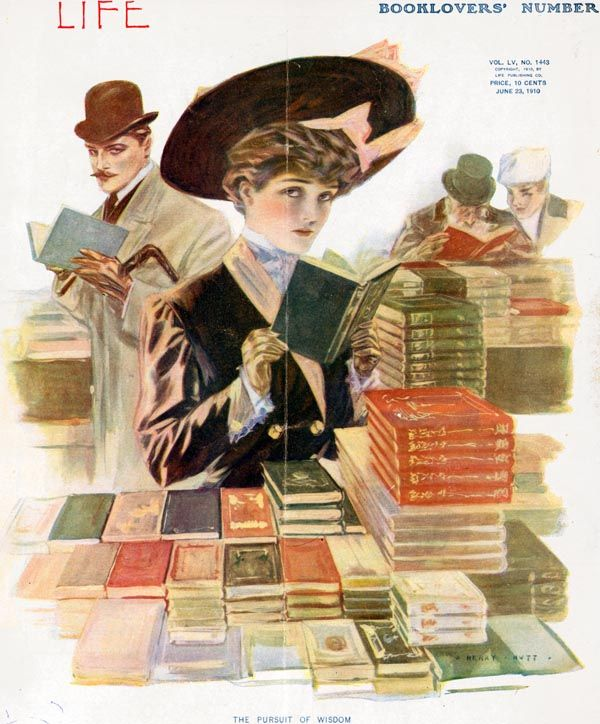 creatingmyownbookworldaroundme:  Vintage magazine cover Life (23rd June 1910) via http://www.magazineart.org