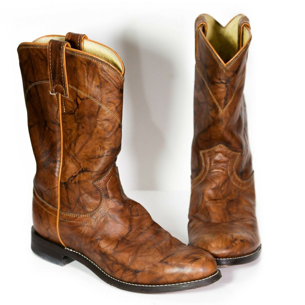 abf531c5e9f Justin Mens 3163 Cowboy Boots Sz 7 EE Extra Wide Chestnut Marbled ...