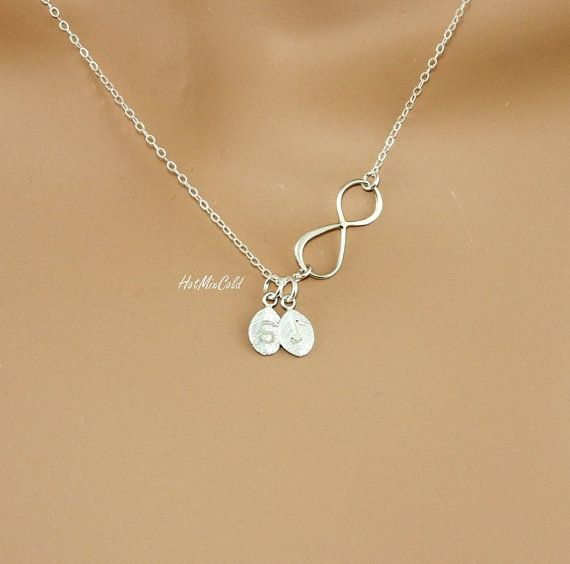 Silver Infinity Necklace Personalized Initial Leaf Charm Necklace