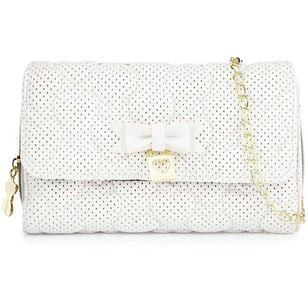 Betsey Johnson Always Be Mine Wallet-On-Chain (€32) ❤ liked on Polyvore featuring bags, handbags, purses, clutches, white, bow handbag, flap handbags, chain purse, betsey johnson handbags and zipper purse