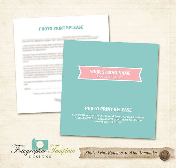 Photo Print Release Form Template Photography Forms - Blue Digital - print release form
