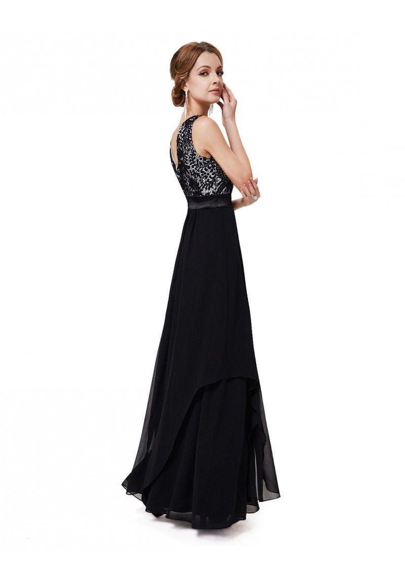 385a094a88a Langes elegantes Abendkleid mit stilvollen Charme in Schwarz - günstig bei  VIP Dress