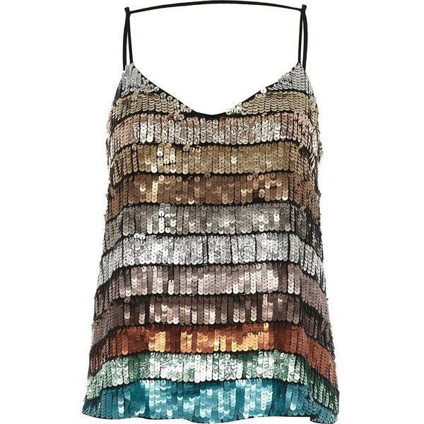 River Island Turquoise multi colored sequin cami top ($70) ❤ liked on Polyvore featuring tops, cami / sleeveless tops, turquoise, women, strappy tank top, v neck tank top, camisole tank top, v-neck tank tops and brown tank top