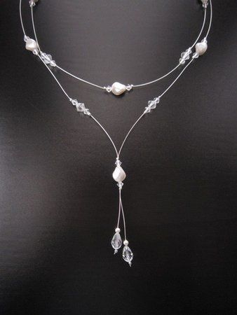 a59f39a2c5132 White, Wedding, Bridesmaids, Bridal, Jewelry, Silver, Crystal ...