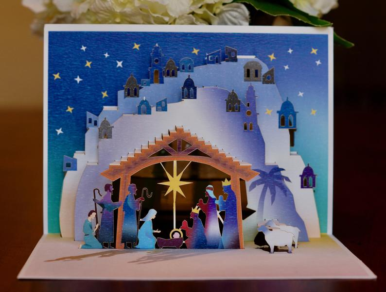 Holy Night Nativity 3d Pop Up Greeting Card Etsy Pop Up Christmas Cards Christmas Nativity Scene Christmas Cards