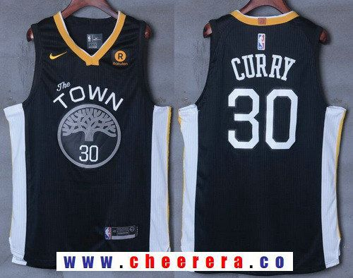 890ded9f25d Men's Golden State Warriors #30 Stephen Curry Black 2017-2018 Nike Swingman  Rakuten Stitched NBA Jersey