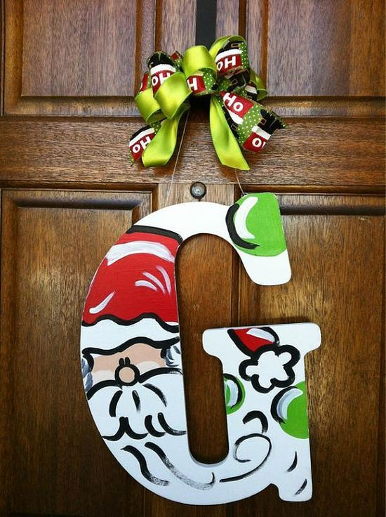 cute way to paint a wooden monogram letter for christmas  santa christmas door hanger by