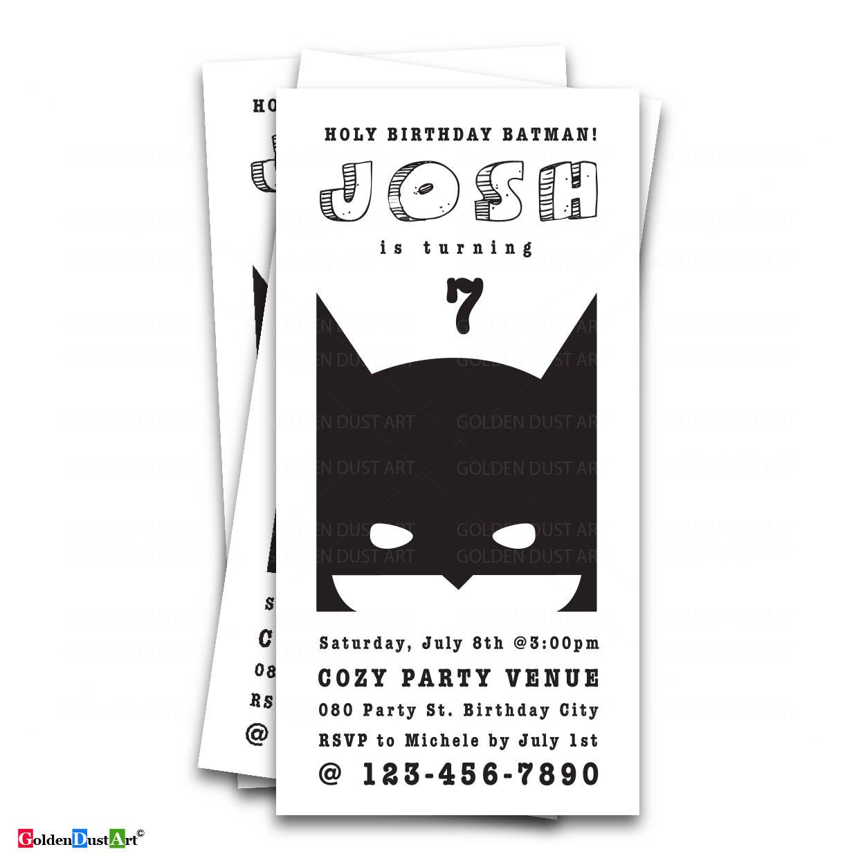Batman Invitation, Holy Birthday Batman, Batman Invite, Batman ...