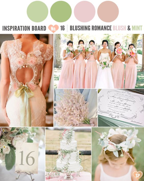 Claire Pettibone Inspired Blush and Mint Inspiration Board