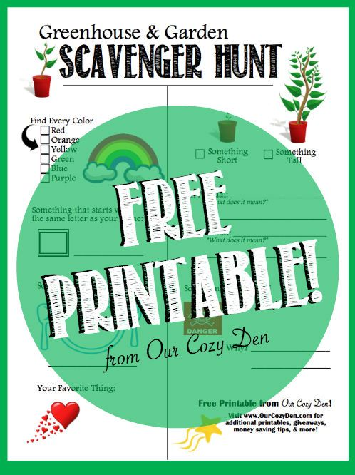 Greenhouse & Garden Scavenger Hunt - FREE printable ~ from Our Cozy Den