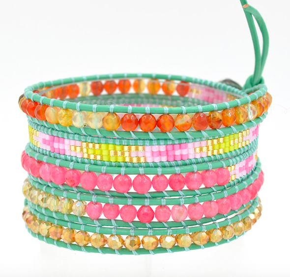 Cute mixed colorful beads Metallic Leather Wrap selected glass beads Multi Layered Bracelet-free shipping