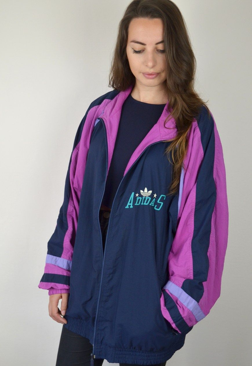 90\'s Vintage Blue and Purple Adidas Oversized Track Jacket | Ica ...