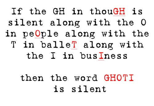 But according to this.. Ghoti is silent. Welcome to English!