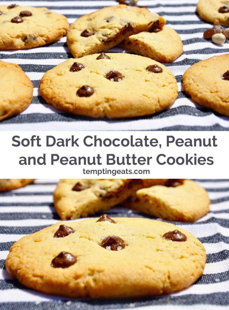 These cookies are delicious served straight from the oven while they are still warm and gooey, with dark chocolate chips in the middle and a salty peanut butter flavour.
