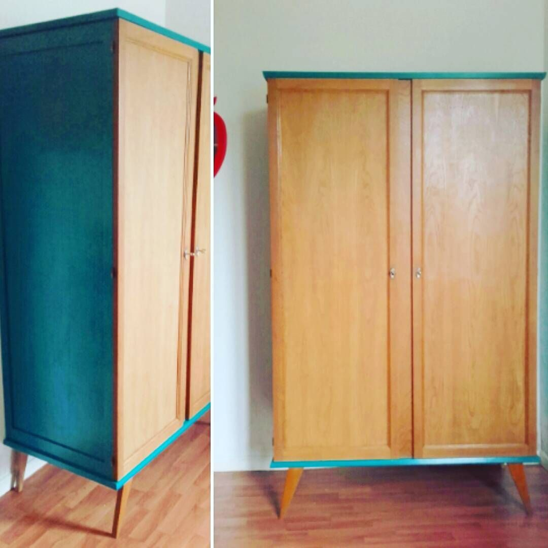 armoire 1967 pieds compas style scandinave relook e avec une peinture bleu canar old craft. Black Bedroom Furniture Sets. Home Design Ideas