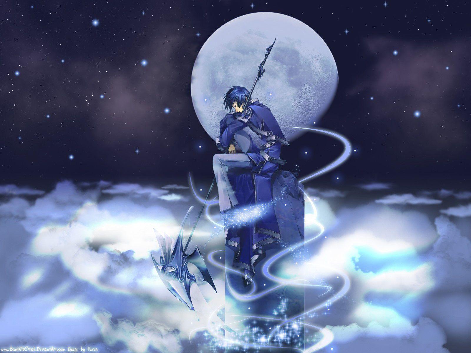 blue blue_hair clouds male moon night scythe short_hair