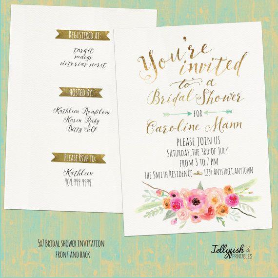 Rustic Boho Bridal Shower Invitation Por Jellyfishprintables