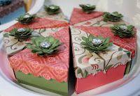 cake boxes cut with CTMH Artiste cricut cartridge using Pear & Partridge paper