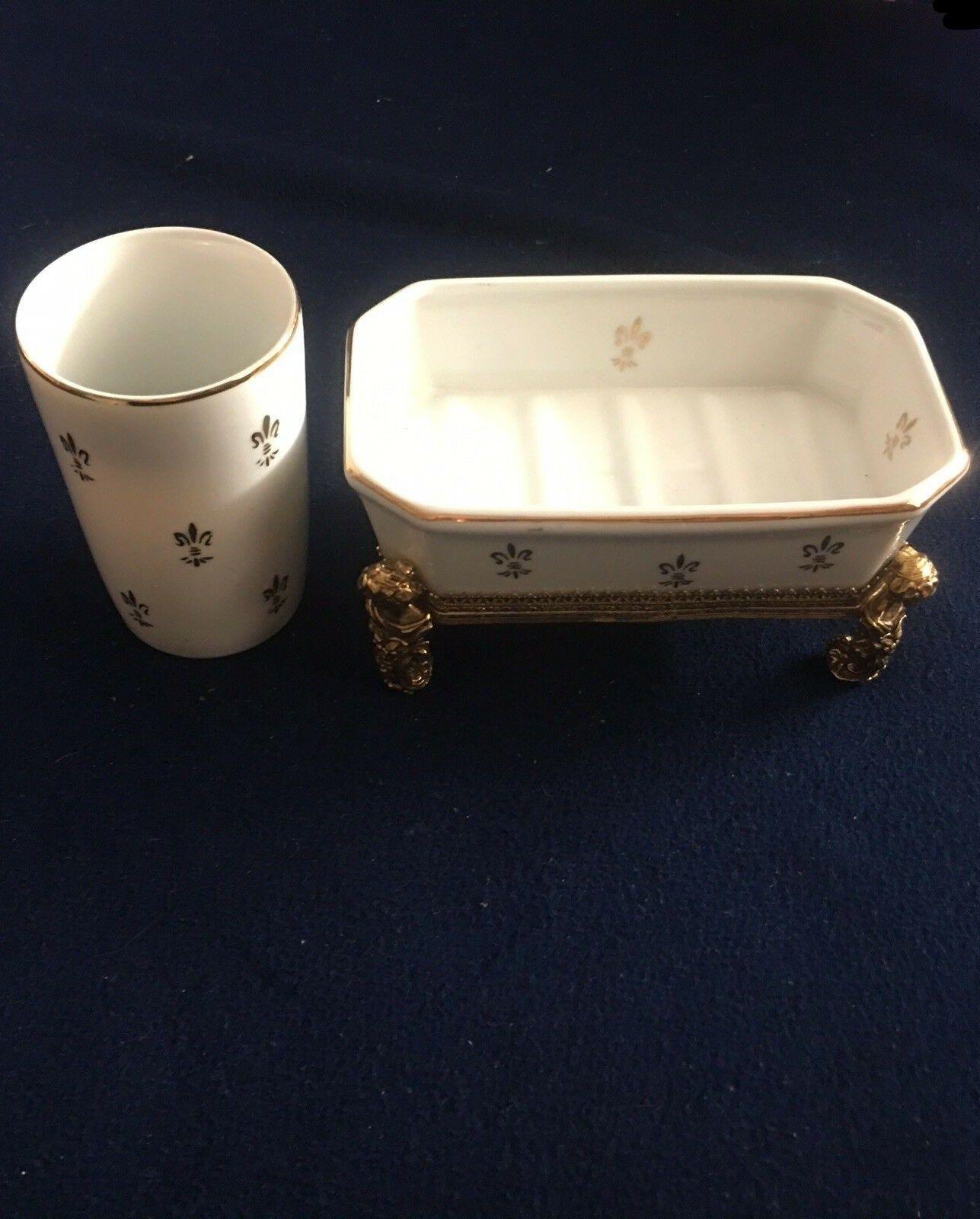 Vintage White Porcelain Gold Trim Fleur De Lis Soap Dish W Footed Brass Stand Cup White Porcelain Dish Soap Soap